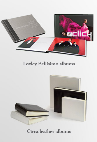 photos of Loxley Bellisimo albums and Circa leather albums