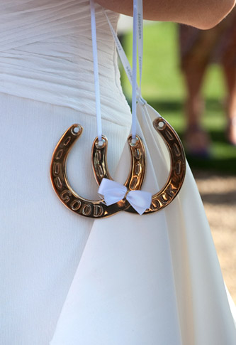 closeup photo of lucky horse shoes on wedding dress